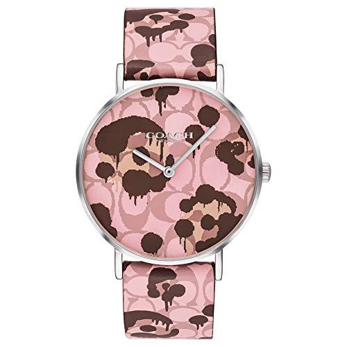 Coach | orologio da donna perry | disegno floreale cinturino in pelle rosa...