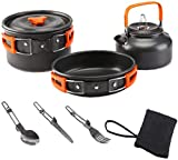 Juego utensilios cocina al aire libre, Set de estufa de picnic Conjunto de cocinero al aire libre Picnic Ultralight Doble utensilios de cocina Tetera Pan 2-3 personas para acampar cocinar naranja