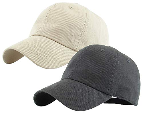 Zipper-G Caps Combo Pack Cotton Baseball Cap for Men Women Free Size with Adjustable Strap (Darkgrey and Off White)