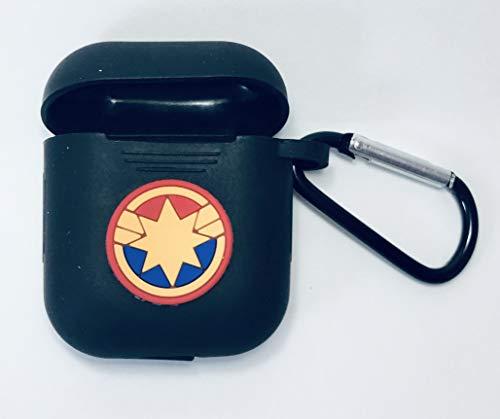PFEISCO. Trade beschermhoes compatibel met Apple Airpods Case Superhelden Design Cartoon Bluetooth koptelefoon ontwerp vergelijkbaar met Marvel Ironman Batman Spiderman, 4,5 x 5,5 x 2,4 cm, Captain 18