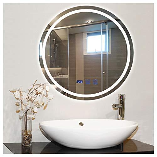 YXYH Casa Redondo Espejo de Baño 700X700mm LED Montado en la Pared Espejos de Pared - Multifunción Salón Mirror (Color : A, Size : 700X700MM)