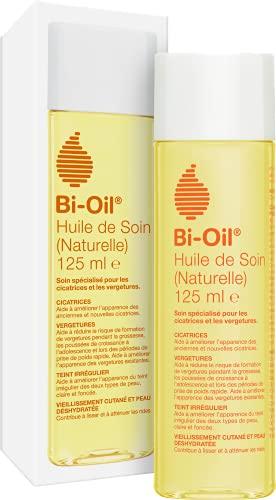 Bi-Oil Huile de Soin Naturelle - Soin spécialisé pour les vergetures, cicatrices, peau sèche et teint irrégulier - Formulation 100% naturelle - Idéal pendant la grossesse - 1 x 125 ml