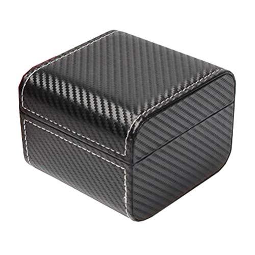 Hemobllo Armbanduhr Geschenkbox Pu Leder Single Slot Uhrengehäuse Schmuck Geschenkboxen für Armreif Armband Halskette Uhr (Schwarz)