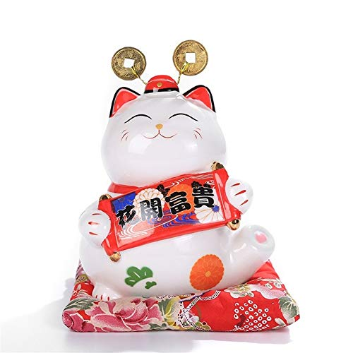 King Boutiques Maneki Neko 6 Pulgadas de Maneki Neko Lucky Cat Cermica Decoracin del hogar Adornos de Porcelana de Gato Caja de Dinero de la Fortuna de Fengshui Artesana (Color : B)