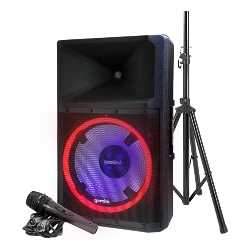 Gemini Sound GSP-L2200PK Indoor Outdoor Ultra Powerful Bluetooth 2200W Watts Peak Speaker, 15″ Inch Woofer, LED Party Lights, Built in Media Player, FM Radio, USB/SD Card/Microphone, Speaker Stand