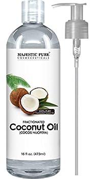 Majestic Pure Fractionated Coconut Oil - Relaxing Massage Oil Liquid Carrier Oil for Diluting Essential Oils - Skin Lip Body & Hair Oil Moisturizer & Softener - 16 fl oz