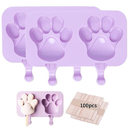 Silicone Popsicle Maker Pop Molds – 2Pcs Silicone Popsicle Molds Shapes Ice Cream Mold Cakesicle Ice Pop Maker Mold with 100 Sticks for Kid DIY (Cat paw)