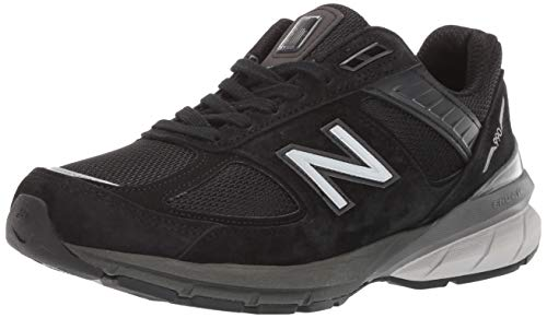 New Balance Women's Made in US 990 V5 Sneaker, Black/Silver, 12 X-Wide