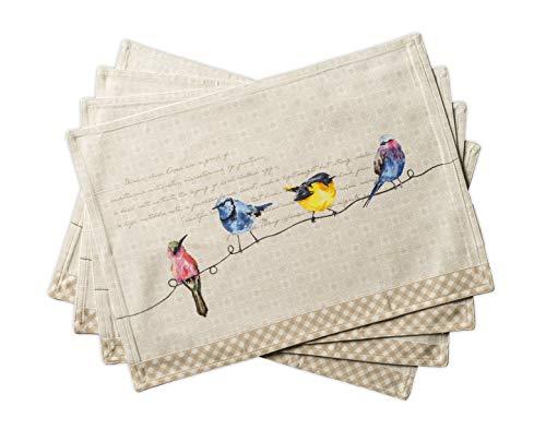 Maison d' Hermine - Juego de 2 manteles individuales para mesa de comedor y cocina (33 x 19 pulgadas), Birdies on Wire, Paquete de 4, 4