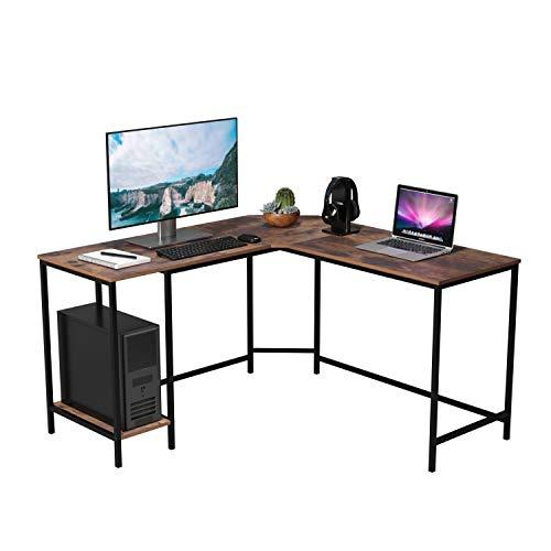 Homfa Mesa de Escritorio Mesa para Ordenador en Forma de L Escritorio Esquina para Oficina Estudio de Estilo Industrial Vintage