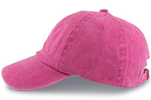 fashionchimp ® Baseballcap im Vintage Used-Look aus 100% Baumwolle, Unisex Jeans Denim Cap (Pink)