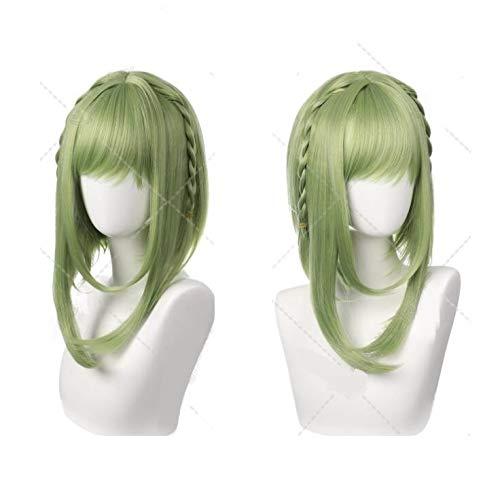 Pelucas dinghome Peluca de cosplay de dibujos animados japonesa, pelucas sintéticas de alta calidad Pelucas verdes rectas con parras largas, para Halloween, fiestas, conciertos, carnaval, moda con tap