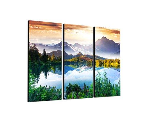Bergsee Gebirge Fantastische Bergwelt 3x40x90cm dreiteiliges Wandbild auf Leinwand und Keilrahmen fertig zum aufhängen - Unsere Bilder auf Leinwand bestechen durch ihre ungewöhnlichen Formate und den extrem detaillierten Druck aus bis zu 100 Megapixe