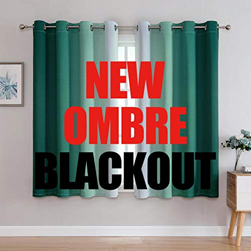 G2000 Blackout Curtains & Drapes for Bedroom Living Room 63 Inch Length Teal and Greyish White Room Darkening Window Treatments Ombre Thermal Insulated Light Blocking Grommet Backdrop 2 Panels Set