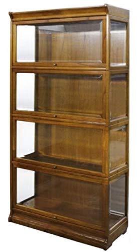 Casa Padrino Bücherschrank mit 4 Glastüren und LED Beleuchtung Hellbraun 90 x 39 x H. 182 cm - Büroschrank