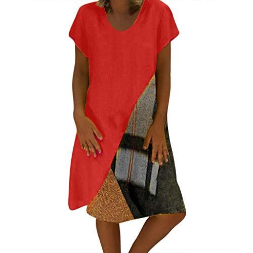 iYmitz Heißer Mode Strandkleid für Frauen Plus Größe Lässig Kurzärmliges Kleid mit V-Ausschnitt Getäfelten VintageDrucken Sommerkleid