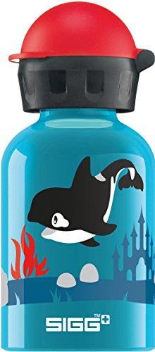 SIGG Gourde pour Orca Family, Petite bouteille sans BPA et sans solvants avec bouchon de sécurité, Gourde en aluminium ultra-résistante, Mixte Enfant, Bleu (Turquoise), 0.3 L
