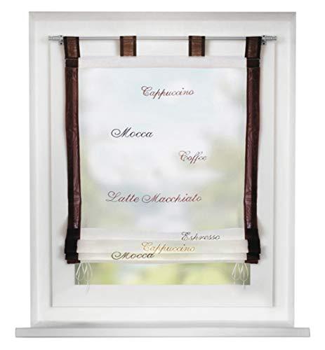 BAILEY JO Voile Raffrollo mit Schlaufen Rollos mit Stickerei Gardinen Transparent Vorhang (BxH 120x140cm, Kaffeebraun)