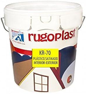 Pintura plástica blanca satinada interior/exterior muy lavable ideal para decorar tu casa con un poco de brillo (salon, baño, dormitorios, cocina.) KR-70 Blanco (4 L) Envío GRATIS 24 h.