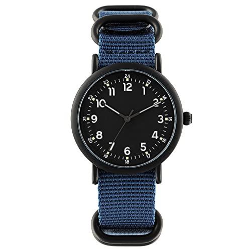 Relojes de pulsera de 40 mm para hombre, reloj luminoso de moda, correa de nailon, relojes de cuarzo para hombres (color azul)