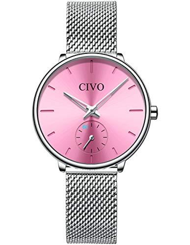 CIVO Damen Uhr Edelstahl Roségold Damenuhr Designer Analoger Quarz Uhren Damen Wasserdicht Datum Armbanduhr Damen Kleid Elegant Beiläufig Uhr für Damen Mädchen (4 Silber/Rosa)