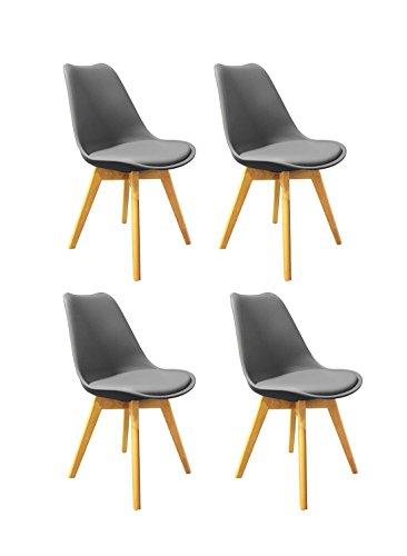 Meubletmoi Lot de 4 chaises Grises ET Bois - Style scandinave Vintage - Assise Moelleuse et Pieds Bois Massif - Confortable et Robuste - LIDY