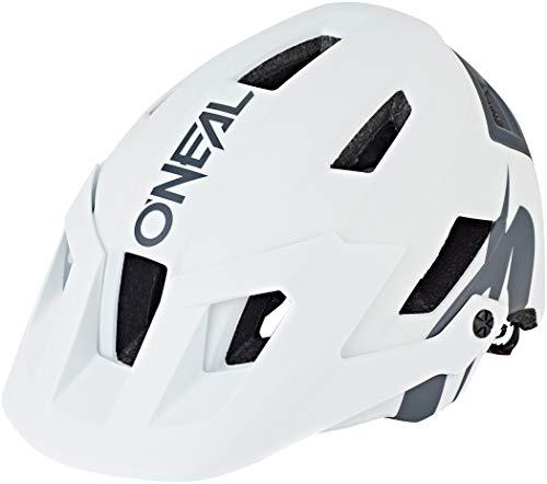 O\'NEAL | Mountainbike-Helm | Enduro All-Mountain | Belüftungsöffnungen zur Kühlung, Polster waschbar, Sicherheitsnorm EN1078 | Helmet Defender Solid | Erwachsene | Weiß Grau | Größe XS M