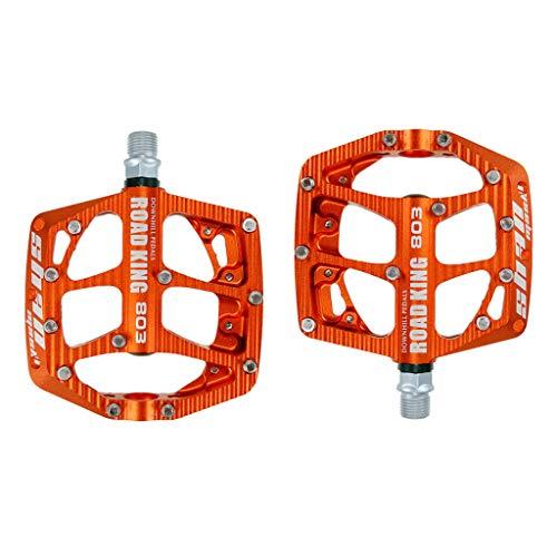 TTBDY Pedal de Bicicleta BMX/MTB, Plataforma Pedales de Bicicleta Aleación de Aluminio 9/16, Pedales Planos Antideslizantes de Alta Resistencia,Naranja
