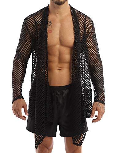 ACSUSS Men's Fishnet Cardigan Ruffle Shawl Collar Long Sleeve High Low Hem Drape Cape Muscle Tops Black XXL