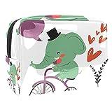 Kit de Maquillaje Bicicleta de Paseo en Elefante Neceser Makeup Bolso de Cosméticos Portable Organizador Maletín para Maquillaje Maleta de Makeup Profesional 18.5x7.5x13cm