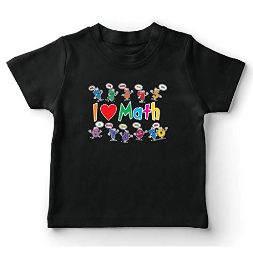 lepni.me Camiseta para Niño/Niña Amo Las matemáticas, el Regalo Educativo de Regreso a la Escuela o la graduación (3-4 Years Negro Multicolor)