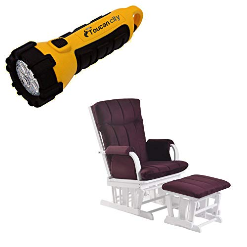 Toucan City LED Flashlight and ARTIVA Home Deluxe Purple Microfiber White Wood Glider and Ottoman set AF20203-PURW