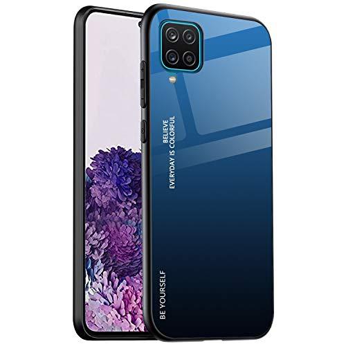 ALAMO Funda de Vidrio Degradado para el Samsung Galaxy A12 | M12, Carcasa de Cristal Templado y TPU Silicona - Color 7