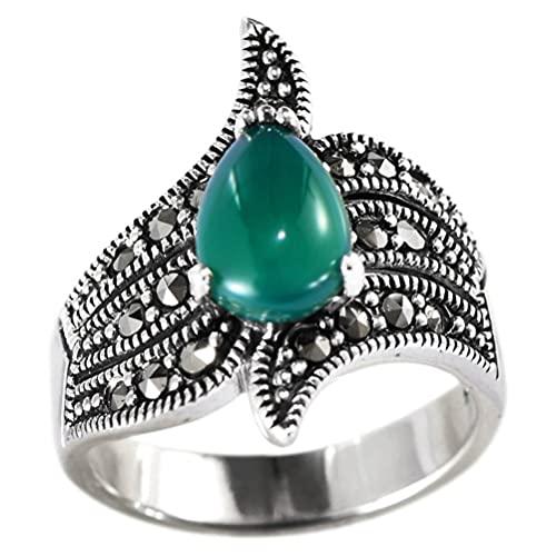 MingXinJia Anillo de plata de ley con dedo abierto S925 de plata de ley estilo retro corte femenino irregular ágata verde gota moda anillo de plata regalos para amante anillo de gota, 13 #