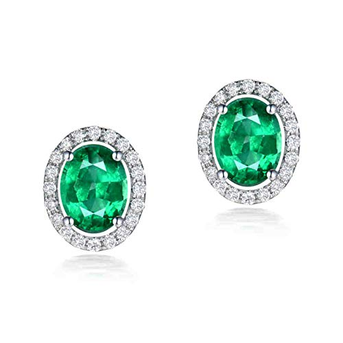 ANAZOZ Pendiente Verde Esmeralda,Pendientes de Oro Blanco 18 Kilates Plata Verde Oval Esmeralda Verde 1.73ct Diamante 0.32ct