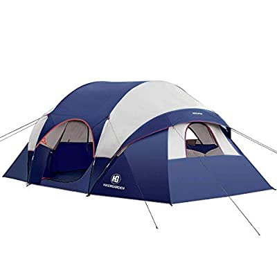 HIKERGARDEN Camping Tent - 10 Person Tent for Camping Waterproof, Windproof Fabric, Easy Setup with 5 Large Mesh for Ventilation, Double Layer and Divided Curtain for 2 Room