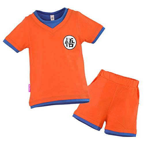 papapanda Kinder Kostüm für Drachen Ball Son Goku T-Shirt Shorts Trainingsanzug Orange Blau (120 (3 Jahre))