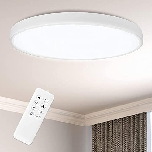 ANTEN LED Deckenleuchte 24W Rund Deckenlampe und Ultraslim, Ø300x24mm, 3000K/4000K/6000K Dimmbar Led Deckenleuchten mit Fernbedienung für Flur, Wohnzimmer, Kinderzimmer, Küche, Büro oder Schlafzimmer