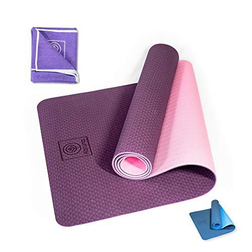 Karuna TPE Yogamatte (186x61x0,6cm) inkl. Yoga Mikrofaser Handtuch & Tragegurt - Gymnastikmatte rutschfest für Fitness Pilates Yoga - Sportmatte für Zuhause