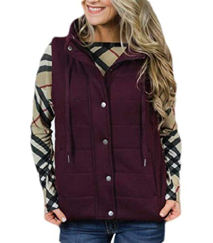Abeaicoc Womens Quilted Zipper Puffer Vest Stand Collar Gilet Winter Pockets Down Vest 1 US 2XL