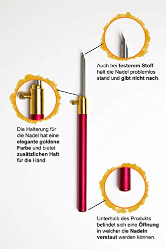 Punchnadel für Faden und Garn - Nadel Set mit 3 Nadeln - Punch Needle Stanznadel Stickstift Nähen und Sticken für 3D Stickerei