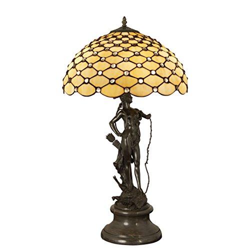 World Art TW60503 Lampes Style Tiffany Lampe de table sculpture avec pierres, 73x41x41 Cm