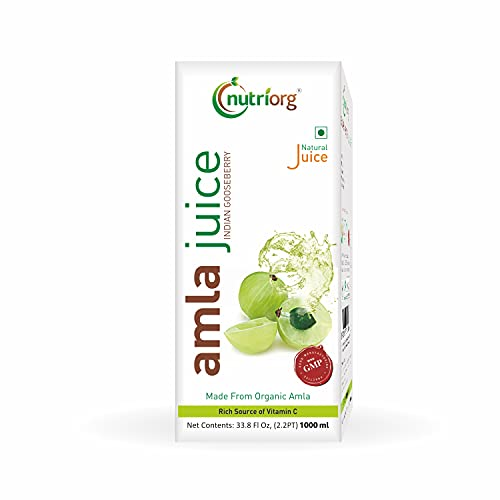 Nutriorg Natural Amla Juice 1 L  Made from 100% Organic Grown Amla   Company-Owned Farmlands   Power House Of Vitamin C