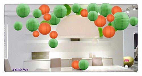 Een Liittle Tree Een Gemengde Papier Lantaarns Groen Oranje 24(14x8+10x 12)