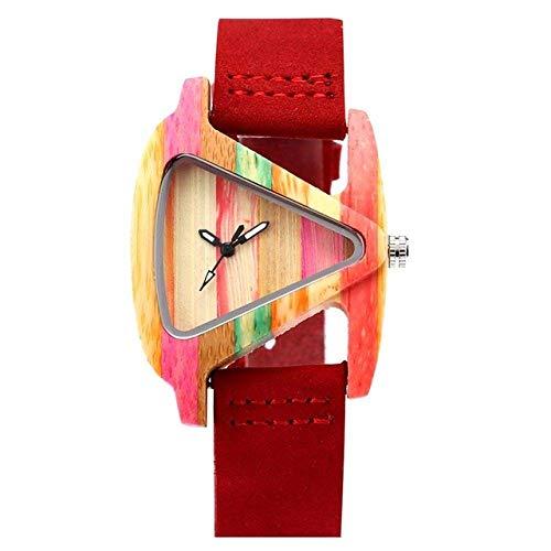 LYMUP Reloj de Madera Exquise triángulo dial Moda Mujer Reloj de Madera Lindo Hit Color Color líneas de Arco Iris bambú Reloj de Madera de Madera Reloj de Pulsera de Cuarzo,Vapor (Color : Only Watch)