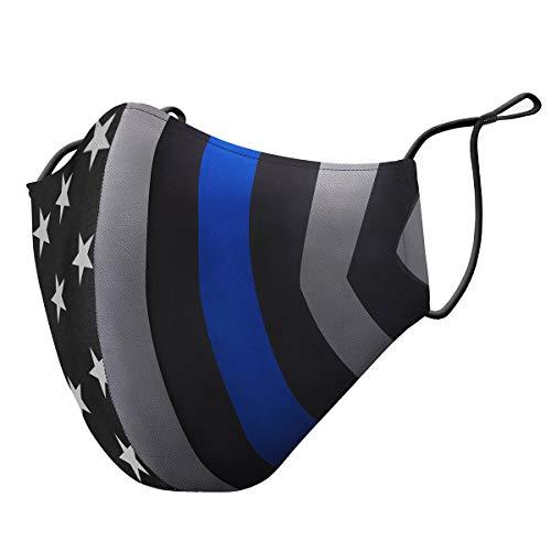 Thin Blue Line Flag Adjustable Face Mask (Adult)