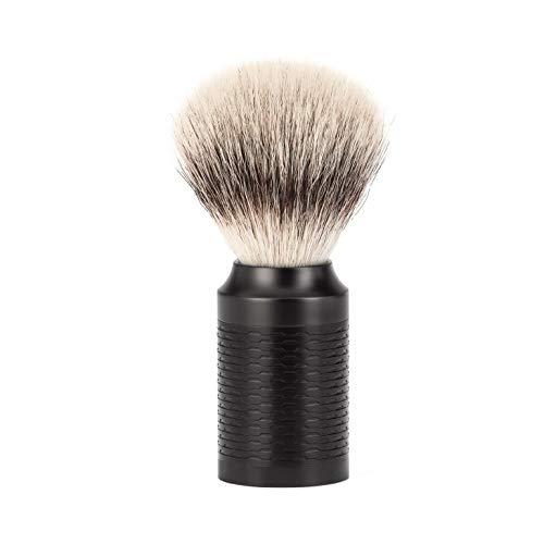 Mühle 31m96jet Blaireau 0 cm fibre synthétique argentée (silvertip fibre®) monture tout inox revêtement DLC noir.