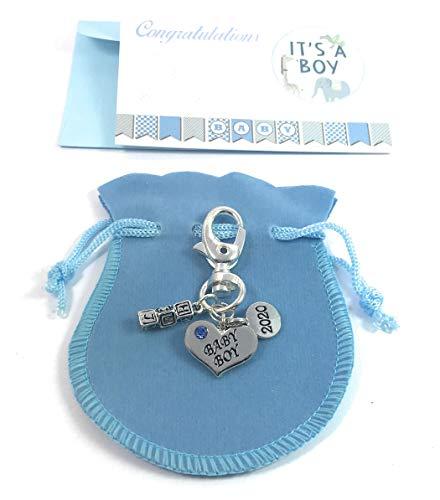 Forme de cœur bébé garçon 2018 Porte-clés avec sac cadeau Bleu à la main par Libby de place de marché