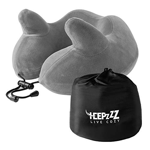 HEEPZZZ Best Travel Neck Pillow Supports Head & Chin While Sleeping on Airplane Bus Train or Car Power Nap Comfortable Memory Foam Soft 4 Way Plush Cover (Washable) - Includes Carry Bag Accessories
