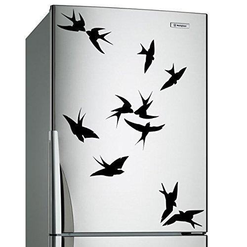 (60 x 48 cm) de vinilo adhesivo decorativo para pared con forro de pájaros con diferentes de silueta de variedad de formas y Poses/lámina de decoración de Home de Vinilo/DIY de tela + adhesivo